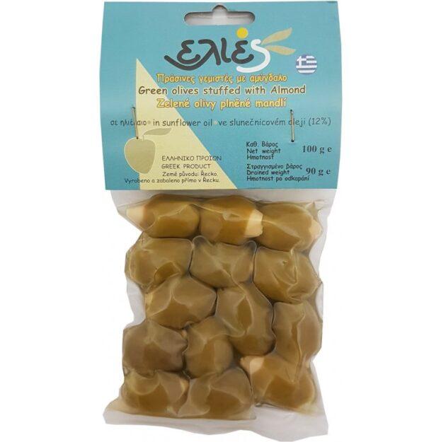 Olivy zelené plněné mandlí 100 gramů.