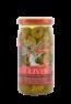 Zelené olivy s papričkami ve slaném nálevu 350 gramů.