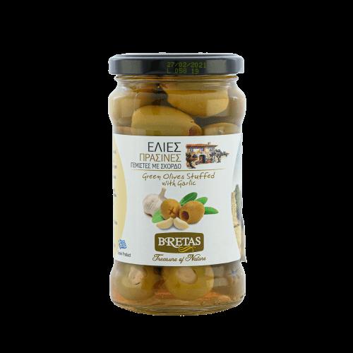 Zelené olivy plněné česnekem 300 gramů.